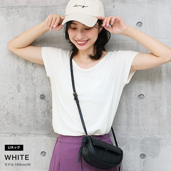 Tシャツ レディース Uネック シンプル ベーシック 美ライン 半袖 大きいサイズ 無地 白 黒 ボーダー ロゴ ホワイト とろみ カットソー 送料無料|f-odekake|14
