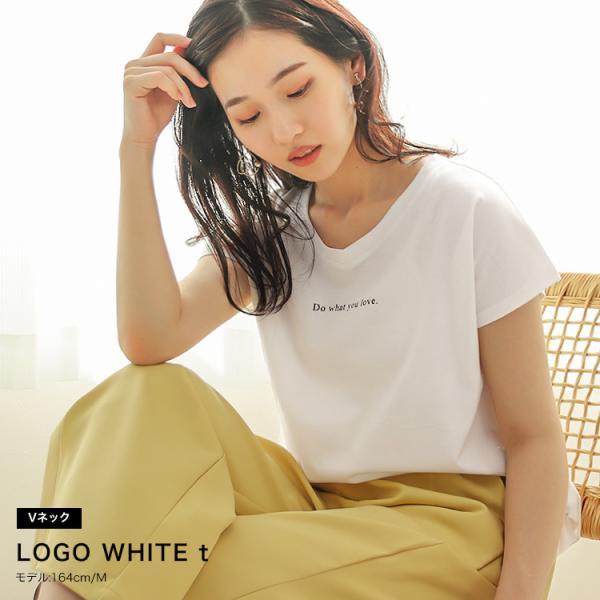 Tシャツ レディース Uネック シンプル ベーシック 美ライン 半袖 大きいサイズ 無地 白 黒 ボーダー ロゴ ホワイト とろみ カットソー 送料無料|f-odekake|03