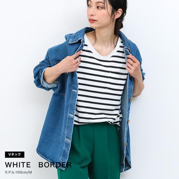 Tシャツ レディース Uネック シンプル ベーシック 美ライン 半袖 大きいサイズ 無地 白 黒 ボーダー ロゴ ホワイト とろみ カットソー 送料無料|f-odekake|06