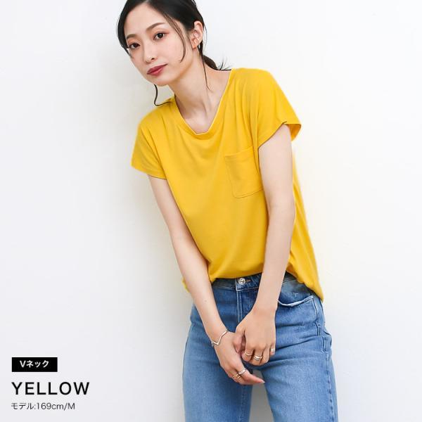 Tシャツ レディース Uネック シンプル ベーシック 美ライン 半袖 大きいサイズ 無地 白 黒 ボーダー ロゴ ホワイト とろみ カットソー 送料無料|f-odekake|09