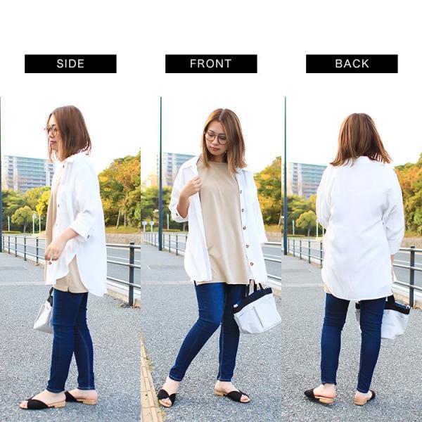 オーバーサイズシャツ レディース ポケット付 ビッグシャツ ゆったり 春 ブラウス 七分袖 トップス 送料無料 f-odekake 14