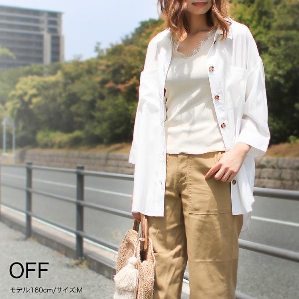 オーバーサイズシャツ レディース ポケット付 ビッグシャツ ゆったり 春 ブラウス 七分袖 トップス 送料無料 f-odekake 04