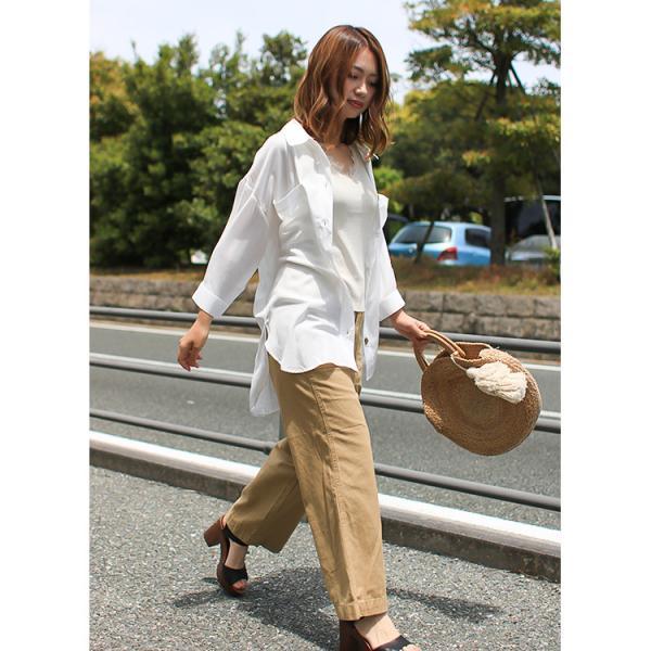 オーバーサイズシャツ レディース ポケット付 ビッグシャツ ゆったり 春 ブラウス 七分袖 トップス 送料無料 f-odekake 05