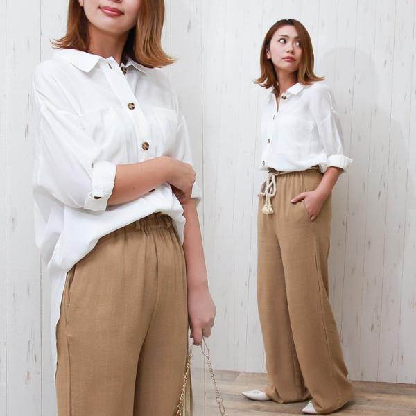 オーバーサイズシャツ レディース ポケット付 ビッグシャツ ゆったり 春 ブラウス 七分袖 トップス 送料無料 f-odekake 06