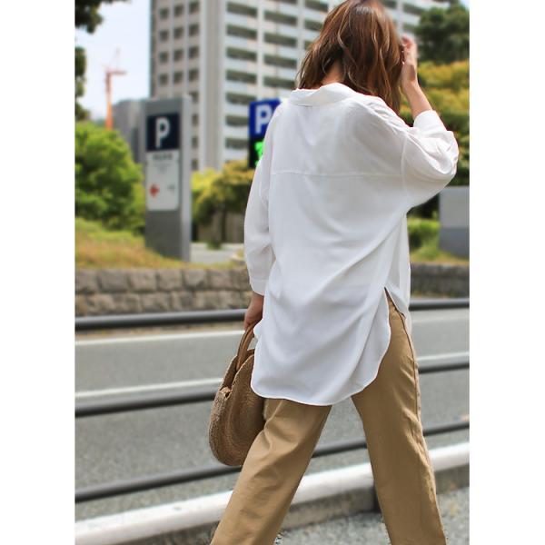 オーバーサイズシャツ レディース ポケット付 ビッグシャツ ゆったり 春 ブラウス 七分袖 トップス 送料無料 f-odekake 07