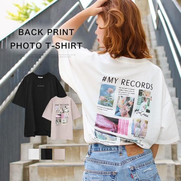 Tシャツ レディース バックプリント ロゴ フォトT ゆったり 半袖 春 夏 カットソー トップス 送料無料|f-odekake