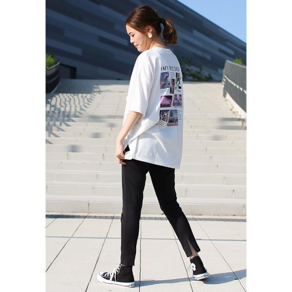 Tシャツ レディース バックプリント ロゴ フォトT ゆったり 半袖 春 夏 カットソー トップス 送料無料|f-odekake|07