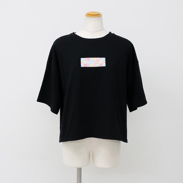 Tシャツ レディース ボックスロゴ 刺繍 ビックTシャツ 春 夏 半袖 ゆったり カットソー トップス 送料無料|f-odekake|10