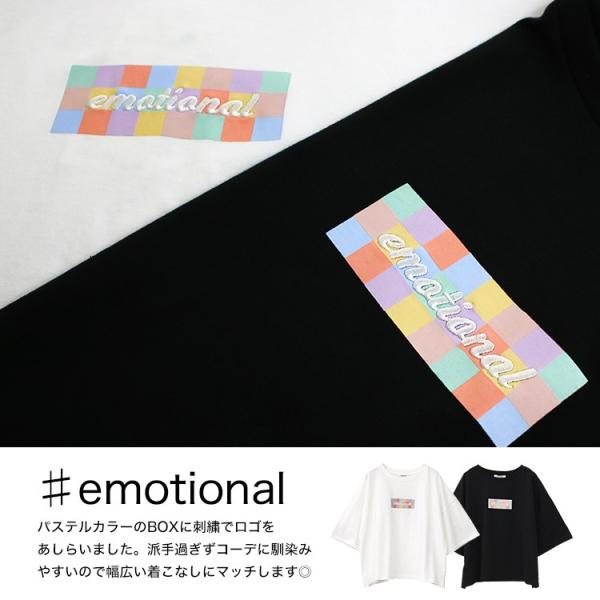 Tシャツ レディース ボックスロゴ 刺繍 ビックTシャツ 春 夏 半袖 ゆったり カットソー トップス 送料無料|f-odekake|04