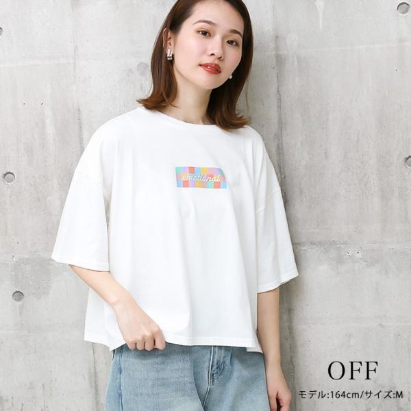 Tシャツ レディース ボックスロゴ 刺繍 ビックTシャツ 春 夏 半袖 ゆったり カットソー トップス 送料無料|f-odekake|06