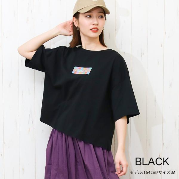 Tシャツ レディース ボックスロゴ 刺繍 ビックTシャツ 春 夏 半袖 ゆったり カットソー トップス 送料無料|f-odekake|09