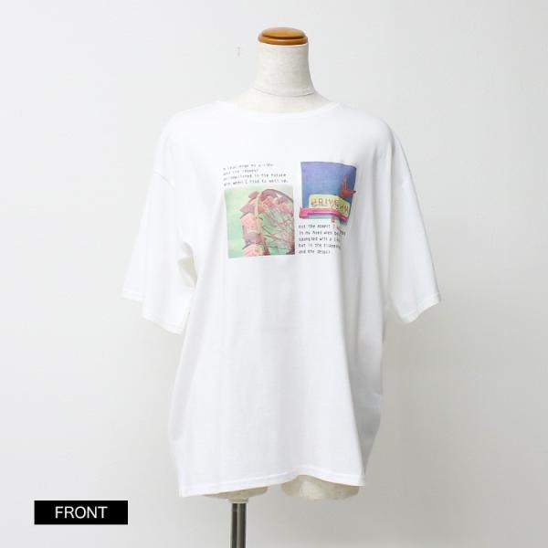 Tシャツ レディース ホログラム フォト ロゴ プリント ゆったり オーバーサイズ 半袖 春 夏 カットソー トップス 送料無料|f-odekake|18