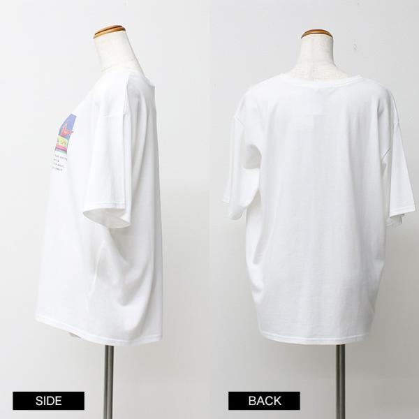 Tシャツ レディース ホログラム フォト ロゴ プリント ゆったり オーバーサイズ 半袖 春 夏 カットソー トップス 送料無料|f-odekake|19