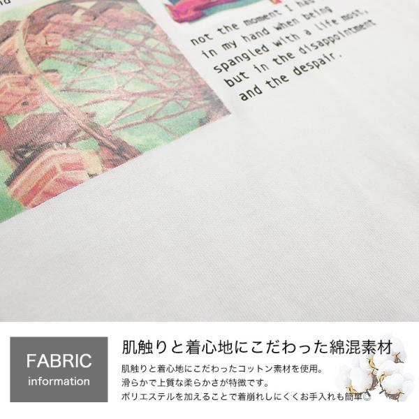 Tシャツ レディース ホログラム フォト ロゴ プリント ゆったり オーバーサイズ 半袖 春 夏 カットソー トップス 送料無料|f-odekake|05