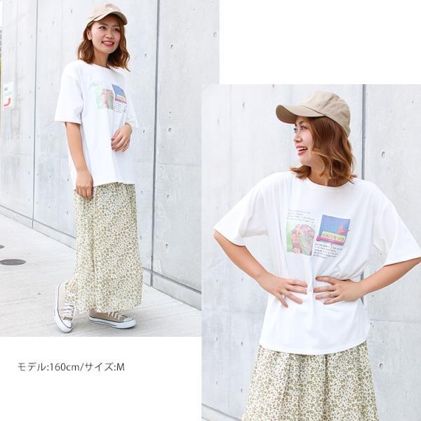 Tシャツ レディース ホログラム フォト ロゴ プリント ゆったり オーバーサイズ 半袖 春 夏 カットソー トップス 送料無料|f-odekake|08