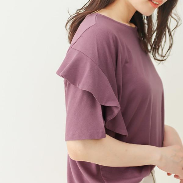 Tシャツ レディース フリル袖 ボーダー ロゴ 夏 白 黒 ボリューム袖 トップス カットソー 大きいサイズ 送料無料|f-odekake|14