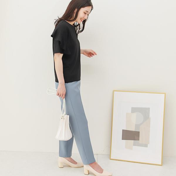 Tシャツ レディース フリル袖 ボーダー ロゴ 夏 白 黒 ボリューム袖 トップス カットソー 大きいサイズ 送料無料|f-odekake|17