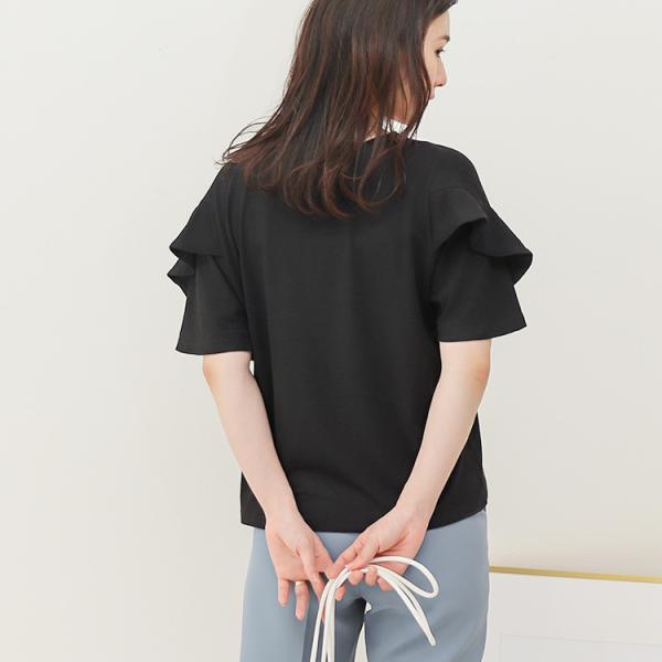 Tシャツ レディース フリル袖 ボーダー ロゴ 夏 白 黒 ボリューム袖 トップス カットソー 大きいサイズ 送料無料|f-odekake|18