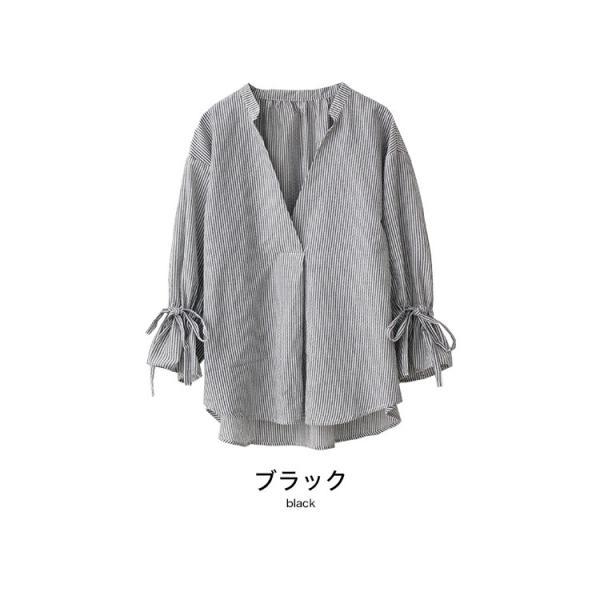 リボン袖 スキッパーシャツ ストライプ キャンディースリーブ 7分袖 5分袖 ボリューム袖 ブラウス トップス レディース 送料無料|f-odekake|14