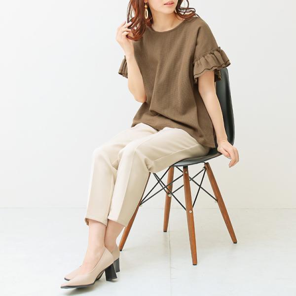 Tシャツ レディース 袖フリル ワッフル 半袖 シンプル 無地 カットソー トップス 送料無料|f-odekake|05