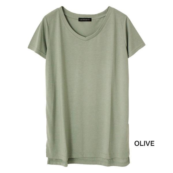Vネック半袖 Tシャツ ゆったり とろみ ボーダー カットソー 白 黒 ホワイト ブラック レディース 大きいサイズ 送料無料|f-odekake|17