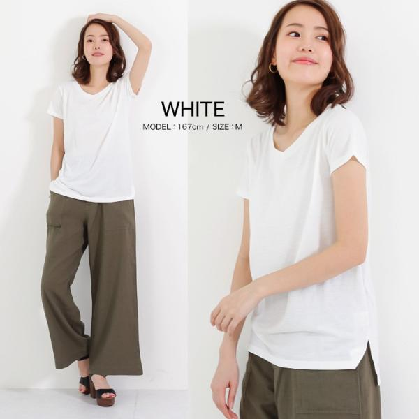 Vネック半袖 Tシャツ ゆったり とろみ ボーダー カットソー 白 黒 ホワイト ブラック レディース 大きいサイズ 送料無料|f-odekake|10
