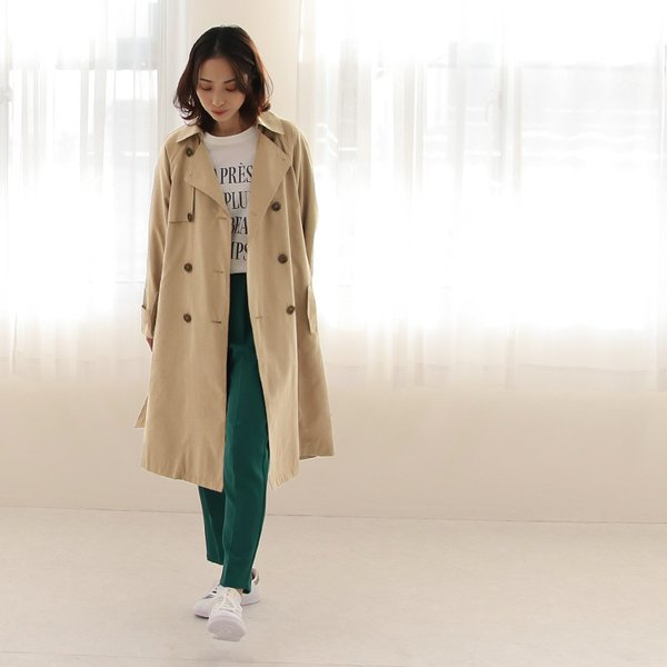 トレンチコート ロング レディース テロンチ アウター 春コート スプリングコート 大きいサイズ 送料無料|f-odekake|14