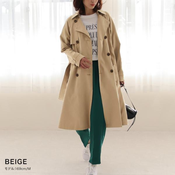 トレンチコート ロング レディース テロンチ アウター 春コート スプリングコート 大きいサイズ 送料無料|f-odekake|10