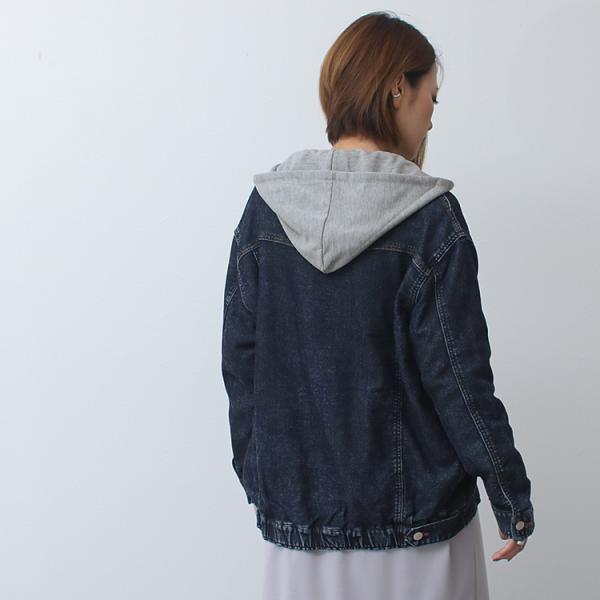Gジャン レディース ビッグ ゆったり スウェット デニムジャケット ジージャン ブルゾン 大きいサイズ  送料無料|f-odekake|05