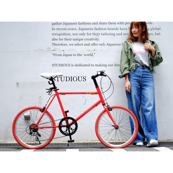 ミニベロ 小径自転車 20インチ シマノ7段変速ギア LEDライト カギ スマホホルダー プレゼント ALTAGE アルテージ AMV-001 組立必要品|f-select|16