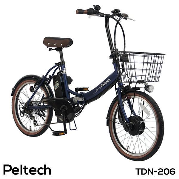 電動アシスト自転車 20インチ 折りたたみ自転車 電動自転車  3モードアシスト機能 シマノ外装6段変速 速 PELTECH ペルテック TDN-206 組立必要品|f-select