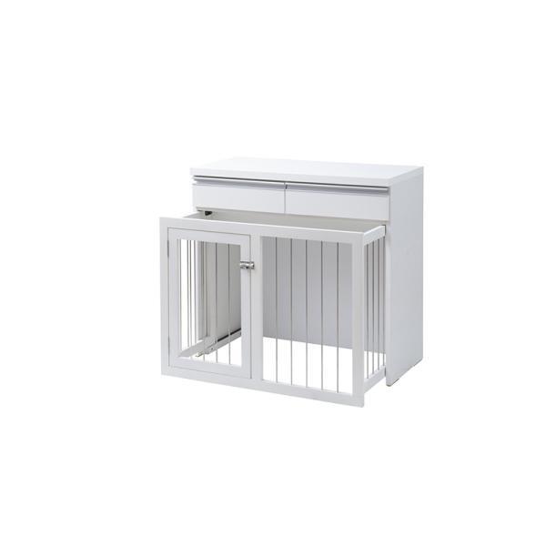 国産 完成品 省スペース収納付きスライド型ケージ 幅90cm ホワイト ペットゲート おしゃれ デザイン 小型犬 中型犬 ペット用品