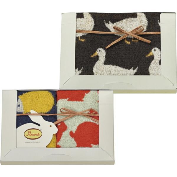 ウォッシュタオル2P&フェイスタオル 3枚入り アノラック シンプル 日用品 ファブリック 贈り物 ギフト プレゼント 贈答品 お中元 引っ