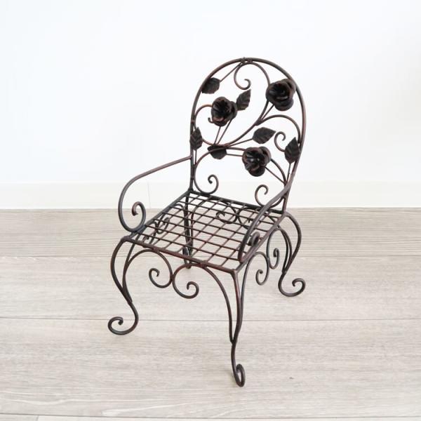 ヨーロピアン風 アンティーク調 チェアー型プラントスタンド 花台 S アイアン 鉢台 花瓶台 置き台 ガーデンスタンド 玄関 インテリア