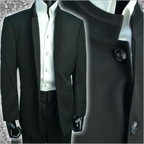 d7a5650184875 ... 秋冬 マオカラースーツ デザインスーツマオカラージャケット 個性派スタイル 黒ブラック ピケ シャドーストライプ ...