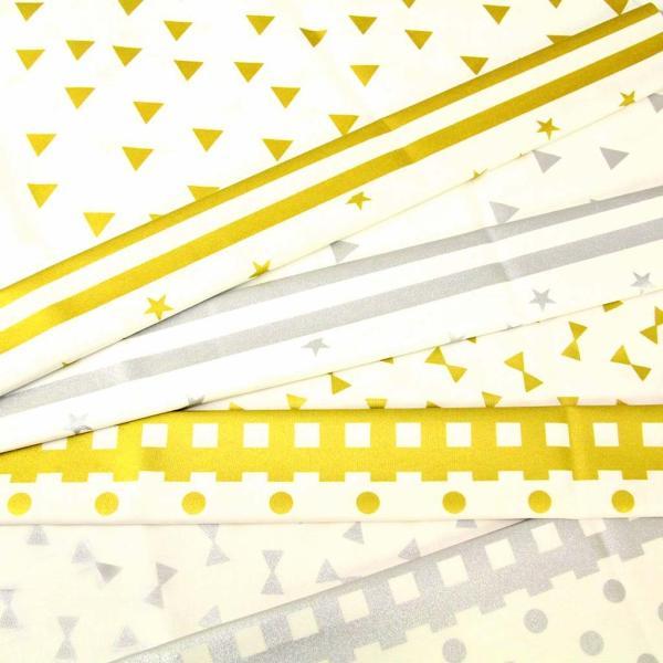 生地 1m単位 オックス キラキララメプリント HSK 布 スター ストライプ 三角 リボン チェック ドット W-YWT【値下げ処分品】|fabrichouseiseki