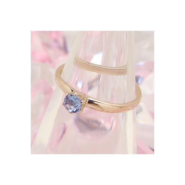 サイズちょっと大きめベビーリング シンフォニー K10ピンクゴールド タンザナイト 12月の誕生石 天然宝石