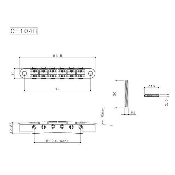 ゴトー【GOTOH】レスポールタイプ ギターブリッジGE104B(ゴールド)|factorhythm|02
