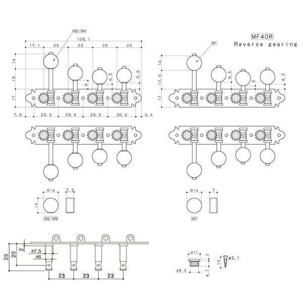 ゴトー【GOTOH】マンドリンペグ MF40R(ゴールド) ツマミ:MB/MM|factorhythm|02