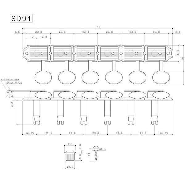 ゴトー【GOTOH】クルーソンタイプ 6連ギターペグ SD91-スタンダード軸(ニッケル) ツマミ:05M/05MA/SL/06M/SLB|factorhythm|02