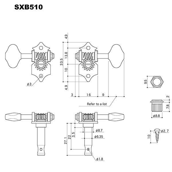 ゴトー【GOTOH】オープンギアタイプSXB510(ニッケル) ツマミ:B5/M5|factorhythm|02