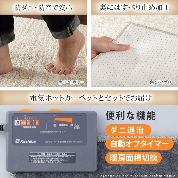 ホットカーペット カバー ミックスカラーホットカーペット・カバー 〔ルーナ〕 2畳(200x200cm)+ホットカーペット本体セット 洗える