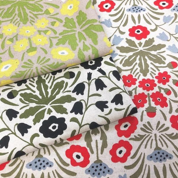 綿麻 キャンバス 生地 北欧風 花とにゃんこ 手芸 布 猫 ねこ 花柄|fairy-lace