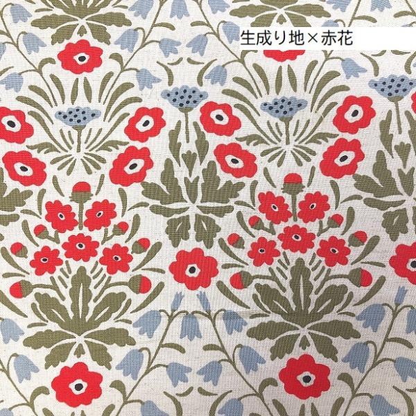 綿麻 キャンバス 生地 北欧風 花とにゃんこ 手芸 布 猫 ねこ 花柄|fairy-lace|02