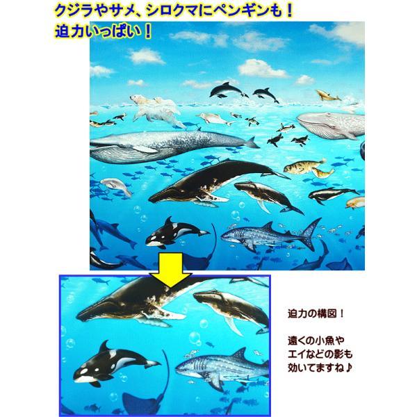 オックス 生地 ラッセン風 海の動物 クジラ イルカ シャチ ウミガメ ニモ インクジェット プリント 手芸|fairy-lace|02