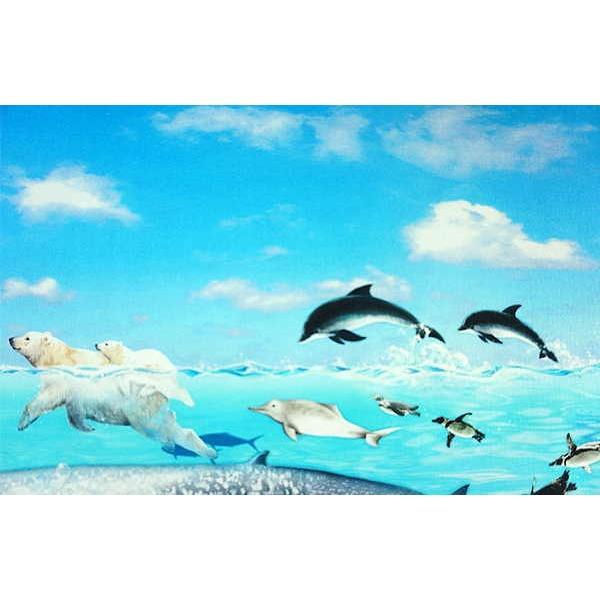 オックス 生地 ラッセン風 海の動物 クジラ イルカ シャチ ウミガメ ニモ インクジェット プリント 手芸|fairy-lace|04