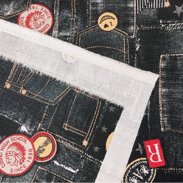 ヘビーオックス 生地 デニム風 パッチワーク風 ワッペンプリント 綿100% 布 手芸|fairy-lace|05