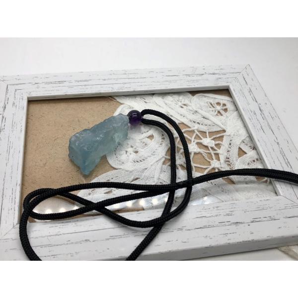 アクアマリン 原石 ネックレス 天然石 パワーストーン No.13248