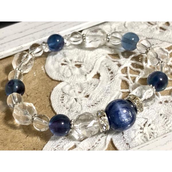 カイヤナイト 深美 ブルーフローライト スターカット水晶 ブレスレット 天然石 パワーストーン