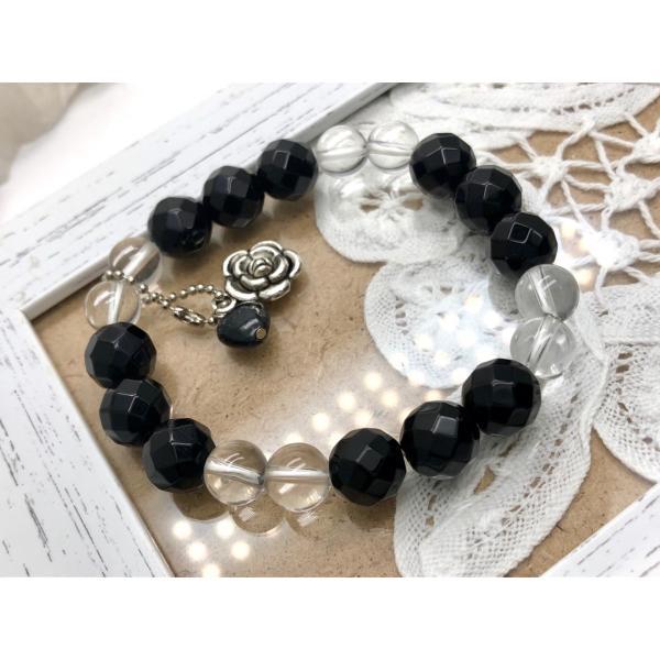 オニキス 水晶 ブラックルチルハート型&薔薇チャーム付 ブレスレット 天然石 パワーストーン